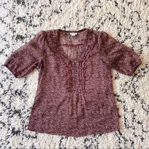 Converse Floral Sheer Buttoned Maroon Blouse